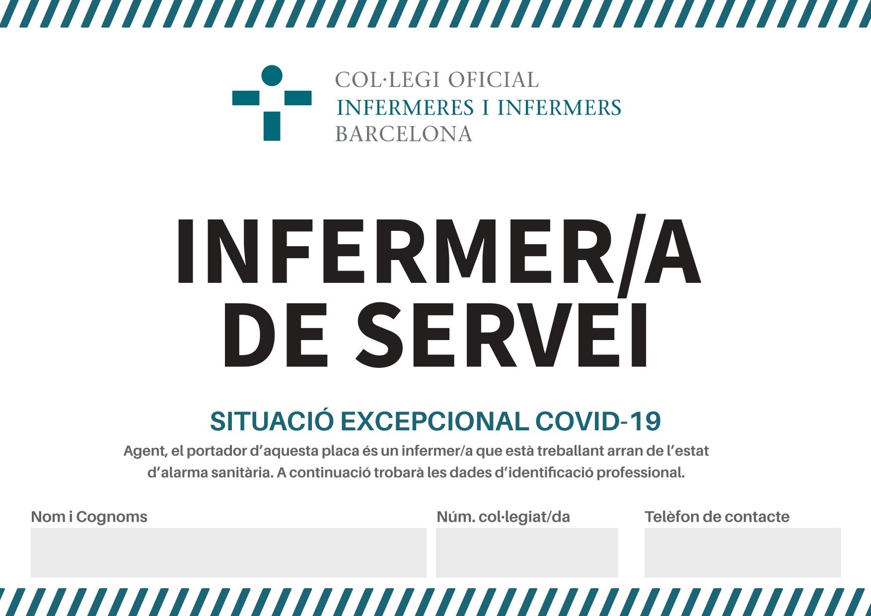 El COIB lliura a infermeres i infermers de Barcelona una targeta identificativa per acreditar-se durant els desplaçaments mentre estan de servei