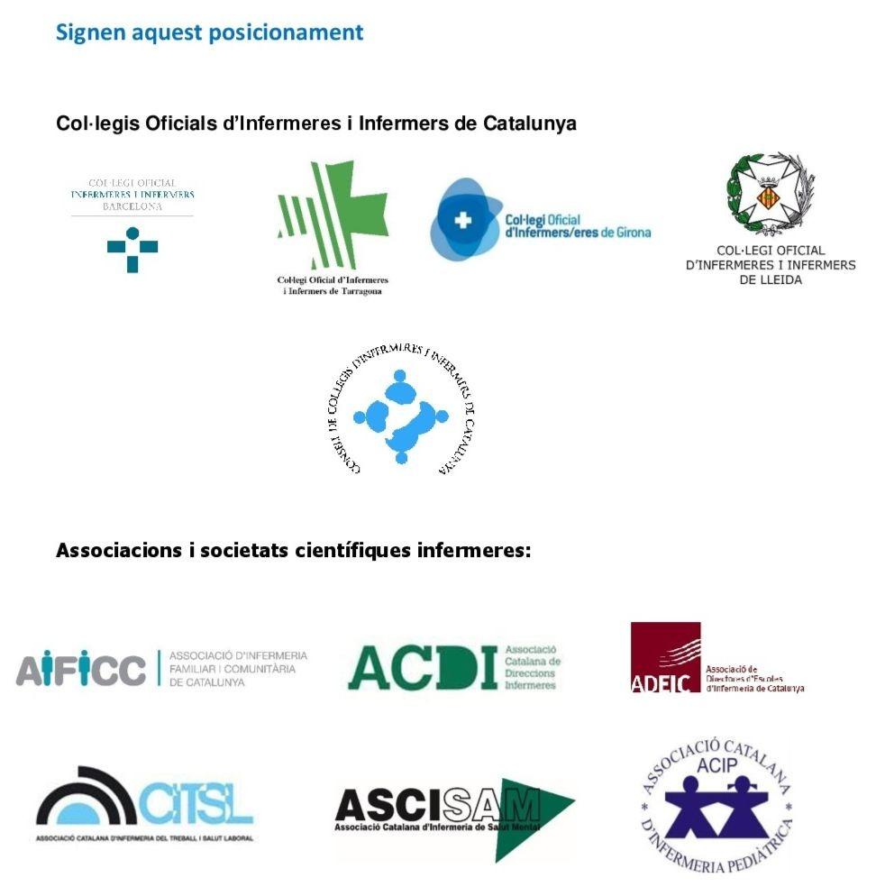 Els col·legis i les societats científiques infermeres publiquen una reflexió sobre la urgència de prendre posició sobre l'aportació infermera a Catalunya