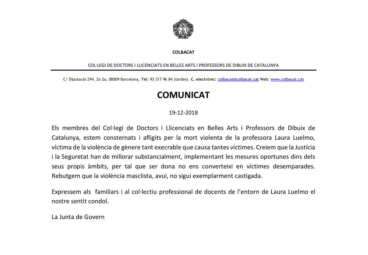 Adhesió al comunicat de COLBACAT arran de la mort violenta de Laura Luelmo