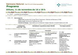 Calendari de les activitats de la Setmana Natural del COIB
