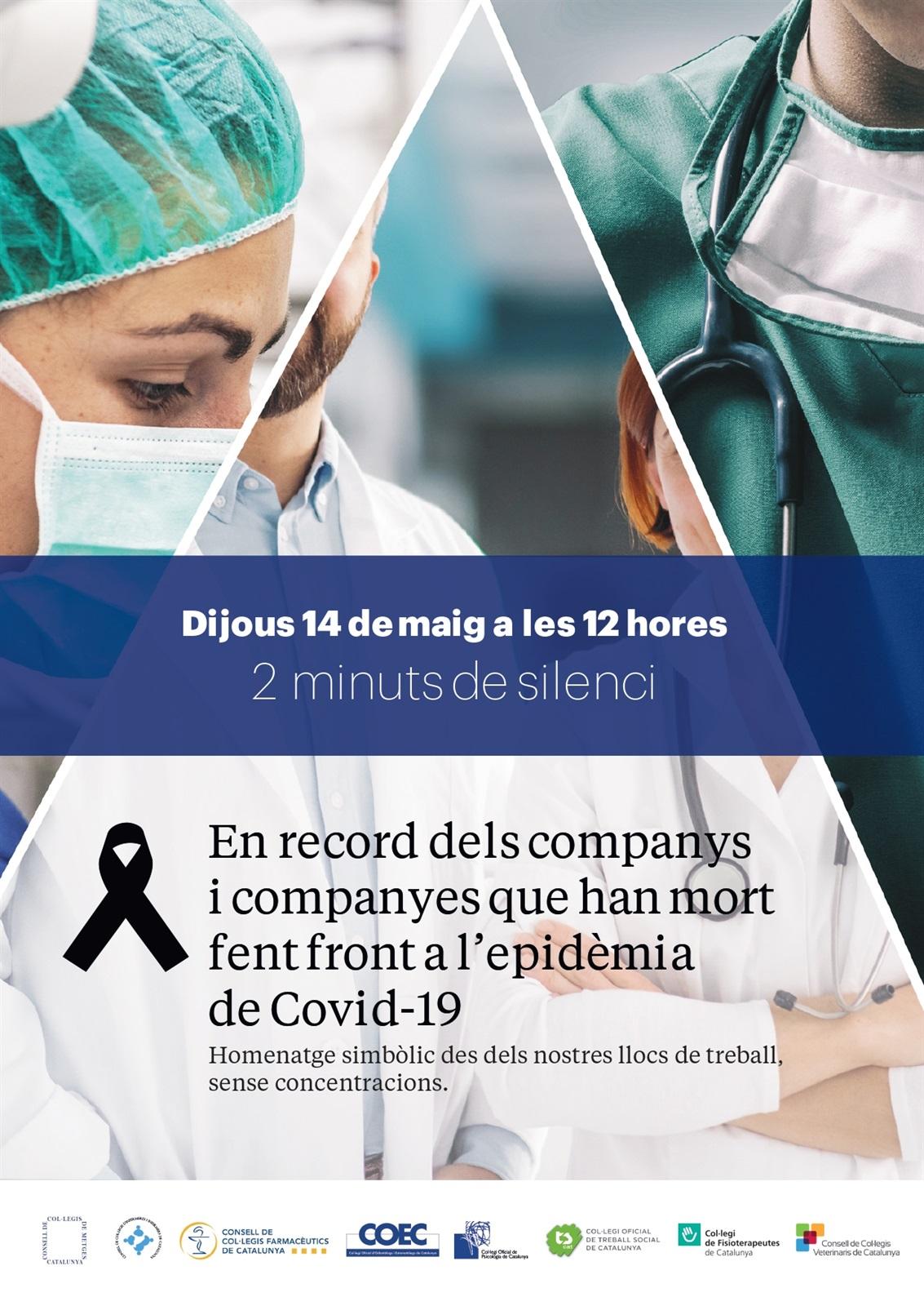 Convocatòria de 2 minuts de silenci pels companys i companyes que han mort fent front a la COVID-19