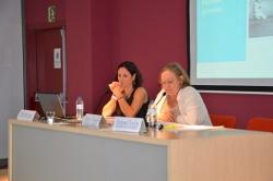 Alba Brugués i Núria Cuxart moderant el debat