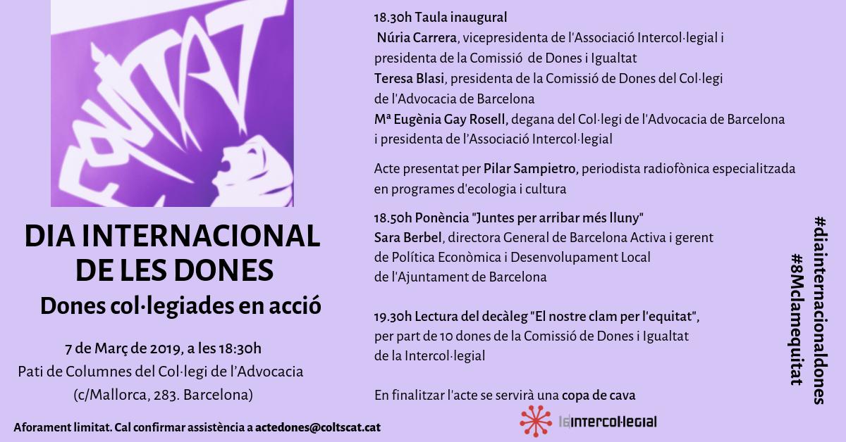 La Intercol·legial celebra el Dia Internacional de les Dones amb l'acte: Dones col·legiades en acció